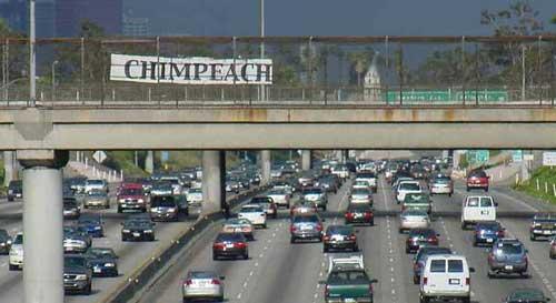 Chimpeach Bush highway sign